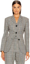 Proenza Schouler Cinched Blazer in Black & Off White Glen Plaid | FWRD