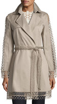 Elie Tahari Kathy Lace-Trimmed Trench Coat, Brown