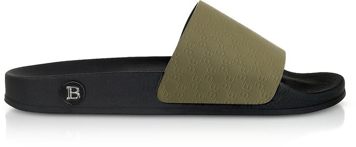 Balmain Dark Green Men's Calypso Slide Sandals