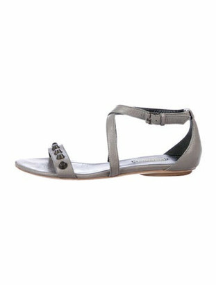 Balenciaga Leather Studded Accents Sandals Grey