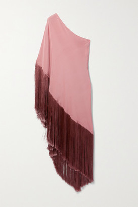 Cult Gaia Safra One-shoulder Asymmetric Fringed Stretch-crepe Dress