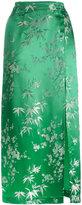 Attico Silk Jacquard Floral Print Mid Length Skirt