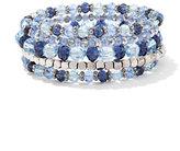 New York & Co. Beaded Silvertone Coil Bracelet