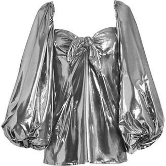 ATTICO Puff-Sleeve Lame Mini Dress