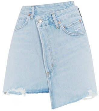 AGOLDE Criss Cross Denim Mini Skirt