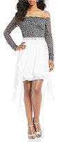 Jodi Kristopher Off the Shoulder High-Low Dress