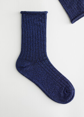 And other stories Ribbed Glitter Lurex Thick Socks