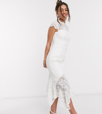 Forever New Petite lace hi-low maxi dress with bow back in white