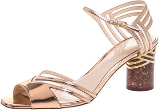 Nicholas Kirkwood Metallic Rose Gold Leather And Mesh Lucite Heel Ankle Strap Sandals Size 40