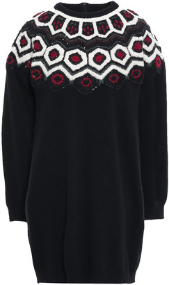 Valentino Sequin-embellished Embroidered Wool And Cashmere-blend Mini Dress