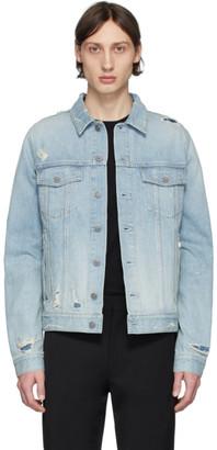 Balmain Blue Denim Embossed Logo Jacket