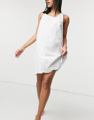 Lauren Ralph Lauren ruffle neck eyelet nightdress in white