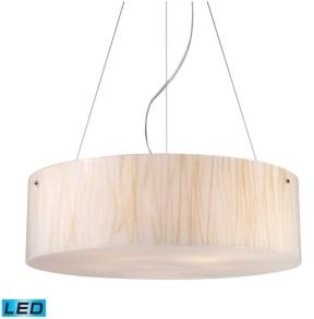 Elk Lighting Modern Organics-5-Light Pendant in White Sawgrass Material in Polished Chrome