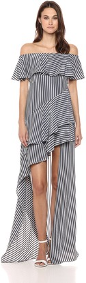 Halston Women's Off Shoulder High Low Flounce Striped Gown