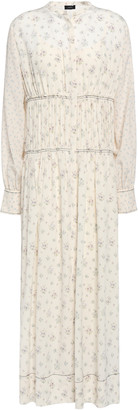 Joseph Gathered Floral-print Silk Midi Dress