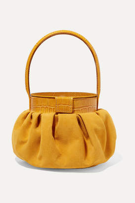 REJINA PYO Agnes Suede And Croc-effect Leather Tote - Mustard
