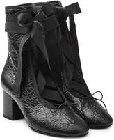 Valentino Leather Ankle Boots with Grosgrain Ribbon