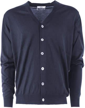 Fedeli Blue Virgin Wool Cardigan
