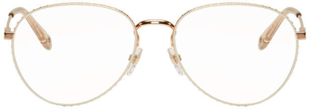 Givenchy Gold and Transparent Studded Edge Aviator Glasses