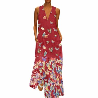 KPILP Women Dress Casual Butterfly Print Dress Sleeveless Loose Party Long Dress Summer Fashion Beach Elegant Maxi Dress(White UK-10/CN-M)