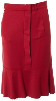 Alberta Ferretti Red Wool Skirt for Women