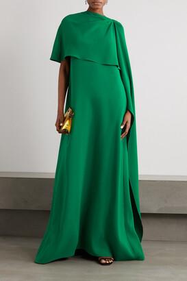Oscar de la Renta - Draped Cape-effect Stretch-silk Crepe Gown - Green
