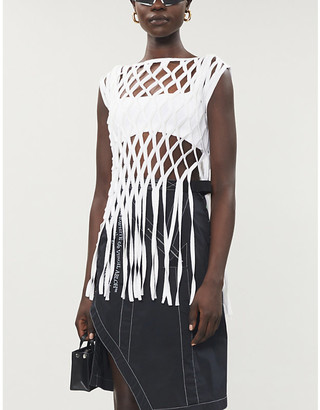 Off-White Rete fringed cotton-blend top
