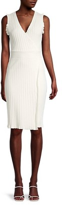 Milly Ribbed Wrap Knee-Length Dress