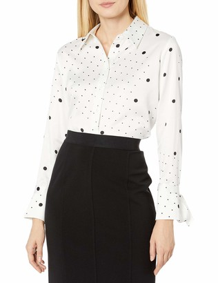 Tahari ASL Women's Long Sleeve Button Front Blouse