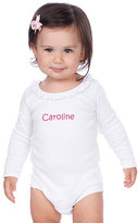 Princess Linens White Ruffle Long-Sleeve Personalized Bodysuit - Infant