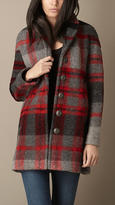 Burberry Check Wool Blend Coat