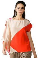 Trina Turk Short-Sleeve Draped Color-Block Top