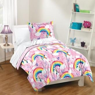 Dream Factory Pink Unicorn Rainbow Kids Comforter and Sham Set