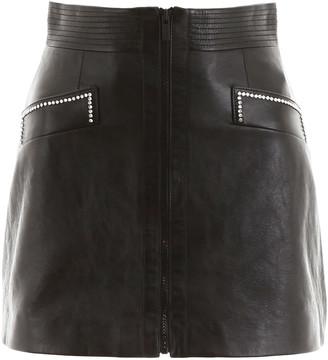 Miu Miu Leather Mini Skirt With Crystals