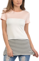 Magic Fit Light Pink & White Color Block Tunic