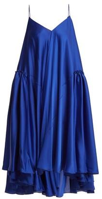 Maison Rabih Kayrouz Gathered-panel Charmeuse Dress - Blue