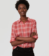 LOFT Petite Plaid Shirred Softened Shirt