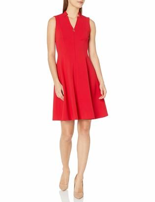 Calvin Klein Women's Petite Sleeveless Fit & Flare with Front Zipper Dress
