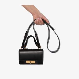 Alexander McQueen black skull lock leather shoulder bag