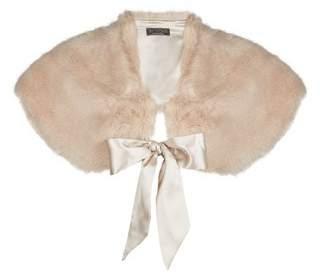 Dorothy Perkins Womens **Showcase Neutral Fur Bow Shrug