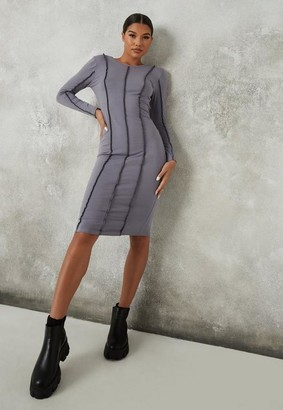 Missguided Grey Exposed Seam Midi Dress
