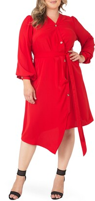 Standards & Practices Asymmetrical Long Sleeve Shirtdress
