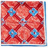 Kiton Flower Diamond Silk Pocket Square, Red