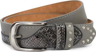 styleBREAKER women belt with rhinestones and details in snakeskin look adjustable 03010102