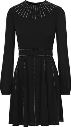 Valentino Studded Silk-georgette Mini Dress