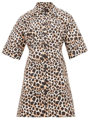 Sea Apollo Animal-print Cotton-poplin Shirtdress - Womens - Leopard