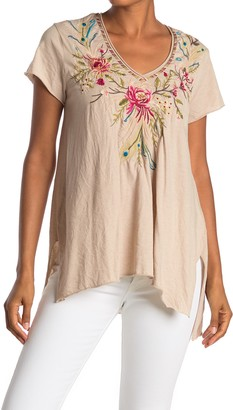 Johnny Was Kaira Floral Embroidered V-Neck Top