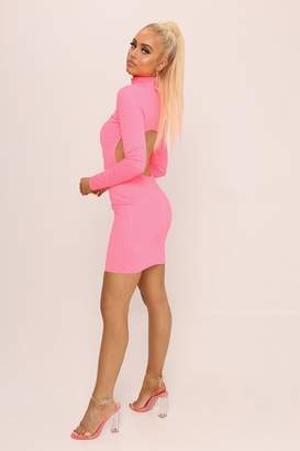I SAW IT FIRST Neon Pink Open Back Mini Dress