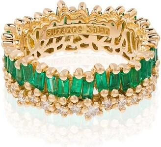 Suzanne Kalan 18K yellow gold Princess emerald and diamond ring