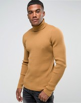 Asos Muscle Fit Ribbed Roll Neck